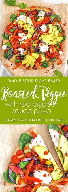 DELICIOUS Roasted Veggies with Red Pepper Sauce Pizza! When pizza and roasted veggies come together in the most delicious way, it's heaven! #vegan #glutenfree #oilfree #roastedveggiepizza #plantbasedrecipe #veganpizza #roastedvegetables #roastedveggies #veggies #plantbased #refinedsugarfree #healthy #healthyvegan #monkeyandmekitchenadventures #recipe