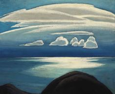 """Lake Superior,"" Lawren Stewart Harris, ca. oil on board, 12 x private collection. Dartmouth College's Hood Museum of Art has a larger version of this painting in their collection. Tom Thomson, Emily Carr, Canadian Painters, Canadian Artists, Art Deco Paintings, Landscape Paintings, Landscape Art, Group Of Seven Artists, Jackson"
