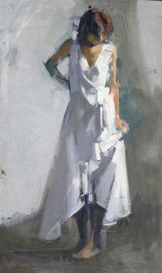 Cacciola Gallery, Maggie Siner, WW Ruffle Oil on linen, 24 × 40 in Painting People, Figure Painting, Korean Painting, Figure Sketching, Artist Sketchbook, Expressive Art, Human Art, Portrait Art, Contemporary Paintings