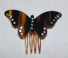 Vintage Celluloid Butterfly Hair Comb With Rhinestones