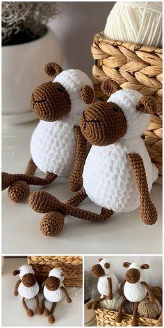 Amigurumi Sleeping Lamb Free Pattern – Free Amigurumi Patterns Crochet Dolls Free Patterns, Crochet Kids Hats, Crochet Teddy, Crochet Baby Clothes, Crochet Art, Amigurumi Patterns, Crochet Toys, Free Crochet, Crochet Animals