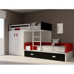 Armoires taupe and rouge on pinterest - Lit avec armoire integree ...