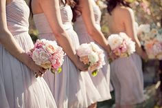 soft pastel bouquets with light dresses