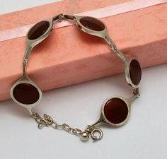 Vintage Armschmuck - Armband Silber 835 mit Karneol edel Vintage SA319 - ein Designerstück von Atelier-Regina bei DaWanda