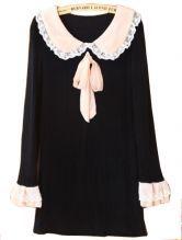 #sheinside  Black Contrast Lace Lapel Long Sleeve Ribbon Dress $32.1