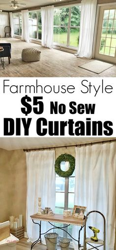 Farmhouse style curtains farmhouse living room curtains now sew just 5 to make each of the farmhouse curtains cheap farmhouse decor white farmhouse style Farmhouse Style Curtains, Country Farmhouse Decor, Farmhouse Style Decorating, Modern Farmhouse, Country Living, English Farmhouse, Industrial Farmhouse, Farmhouse Sheets, Country Style Curtains