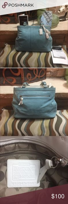 Authentic Coach Hampton Handbag / Coach Scarf Set Used only a few times / RARE Coach Hampton satchel bag is super cute!! It's made of blue suede with white  leather accents and silver hardware. There's VERY minor soiling around the bottom of the bag / very minor soiling on the handles / one scuff on top of the back of bag but ALL not very noticeable! I've looked at ALOT of other PREOWNED COACH suede bags and this one is by far the nicest one I've EVER seen! Comes with the COACH registration…