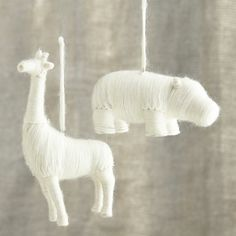 Yarn-Wrapped Safari Animal Ornaments I Crate and Barrel #setthetable