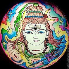 Светильник ручной росписи Шива - светильник,лампа,индийский стиль,шива