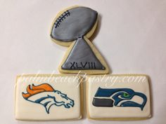 Super Bowl football trophy cookies. We love these!
