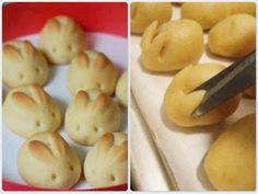 Olha só que lindos esses coelhinhos de biscoito!      Uma ideia simples, fácil e muito fofa para a páscoa :)           Receitinha: B...