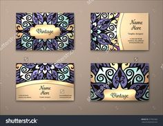 Vector Vintage Visiting Card Set. Floral Mandala Pattern And Ornaments. Oriental Design Layout. Islam, Arabic, Indian, Ottoman Motifs. Front Page And Back Page. - 377901682 : Shutterstock
