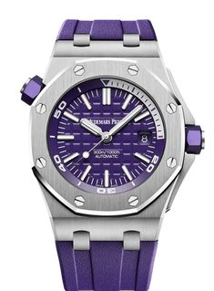 Audemars Piguet Royal Oak Offshore Diver watch in stainless steel with purple rubber strap. Audemars Piguet Price, Audemars Piguet Diver, Audemars Piguet Watches, Audemars Piguet Royal Oak, Hublot Watches, Sport Watches, Cool Watches, Watches For Men, Big Watches