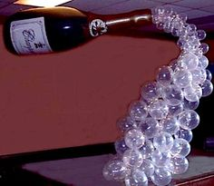 Champagne bottle with balloon bubbles… - 123bounce
