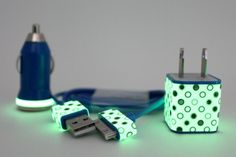 Polka Dot Glow in the Dark iPhone charger MUST HAVE!!!!!!