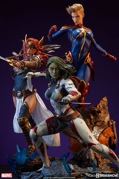 Angela, Gamora and Captain Marvel Premium Format Figure is now available at Sideshow.com for fans of Marvel Comics' Carol Danvers. °°