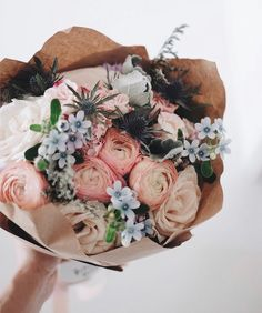 Mixed floral bouquet in shades of blush, peach and blue wrapped in kraft paper. Wild Flowers, Beautiful Flowers, Piones Flowers, Blue Flowers Bouquet, Mother's Day Bouquet, Spring Bouquet, Pastel Flowers, Pink Roses, No Rain