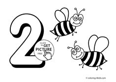 2 numbers coloring pages for kids, printable free digits coloring books