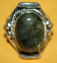 Nepalese Tibetan labradorite ring Turquoise Ring by goldenlines