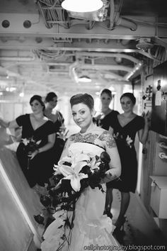 Bride and bridesmaids in the ship