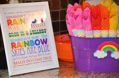 Sweet Simplicity Bakery: Rainbow Theme Birthday Party First Birthday Somewhere Over the Rainbow Printable with Chevron Wrapped Napkin Utensil Holders