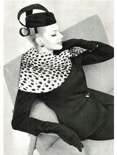 Lanvin Castillo - black wool skirt, fitted jacket with side button closure and ocelot collar (1959)