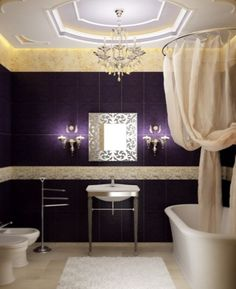 Purple bathroom decorations on pinterest yellow shower for Purple and yellow bathroom ideas