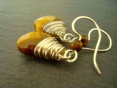 Tiger Eye and Sterling silver earrings by Weaversfield on Etsy, £18.00
