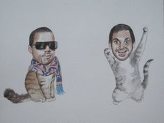 Aziz Ansari and Kanye West as best friend cats by sleepybowie on Etsy https://www.etsy.com/listing/105264155/aziz-ansari-and-kanye-west-as-best
