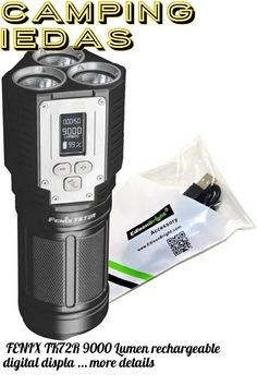 (This is an affiliate pin) FENIX TK72R 9000 Lumen rechargeable digital display LED Flashlight/searchlight/powerbank with EdisonBright USB charging cable bundle