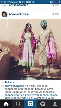 Sikh Wedding- English Mughal #Threadwork #Zardozi  & #Gottapatti #Floral #Anarkali  #Kundan #Indianjewellery beautiful hair & make up #Christianlouboutin by @daisywalia