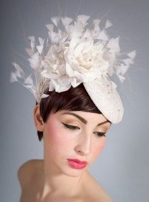 bridal hat fascinator roses ivory feathers