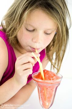 Homemade Strawberry Slushy - Easy recipe perfect for making with kids.