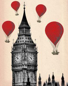 Red Hot Air Balloons 14x11 3 Art Prints Paris London by LoopyLolly, $80.00