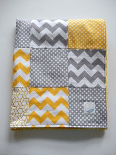 Minky Baby Patchwork Quilt Blanket Yellow Gray Riley Blake Chevrons and Dots--Ready to Ship on Etsy, 59,00 $