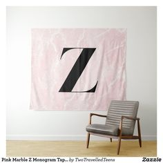 Pink Marble Z Monogram Tapestry Marble Tapestry, Pink Marble, Christmas Card Holders, Bed Spreads, Vivid Colors, Picnic Blanket, Monogram, Curtains, Prints