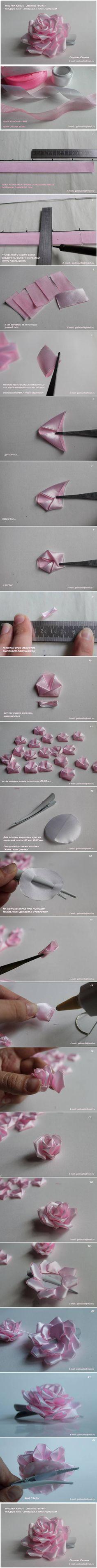 DIY Satin and Organza Ribbon Rose DIY Projects