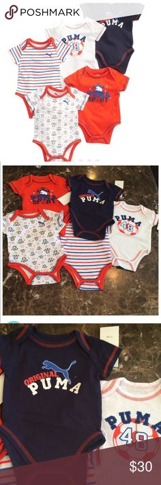 Baby boys 5 piece bodysuit Brand new with tags. Described in above picture. Retail price $52.50!! Puma One Pieces Bodysuits