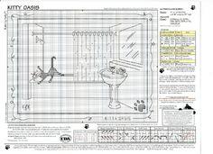 Cat bathtub water avoidance embroidery chart.