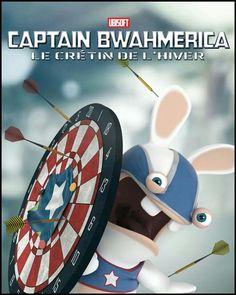 You too, join the SHIELD with Captain Bwahmerica! Cartoon Art, Cartoon Characters, Captain America, Rayman Raving Rabbids, Batman, Geek Art, Super Mario Bros, Illustrations, Manga Comics