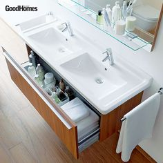A wash basin table which doubles up as a cupboard. Ideal for small spaces, where every square inch counts.