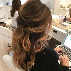 Half-up on this bride-to-be! #theblowoutbar #updo #bridalhair #bride…