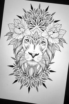 Leo Lion Tattoos, Mens Lion Tattoo, Cat Tattoo, Animal Tattoos, Tattoo Sketches, Tattoo Drawings, Body Art Tattoos, Lion Tattoo Design, Mandala Tattoo Design