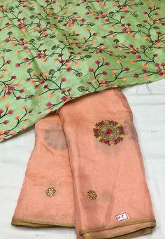 Lenin Georgette Silk Saree with Designer blouse   Elegant Fashion Wear
