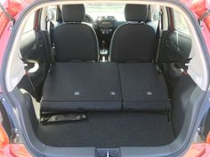 Easy to fold down rear seats for a shocking amount of cargo space in the 2017 Mitsubishi Mirage www.mitsu.ca