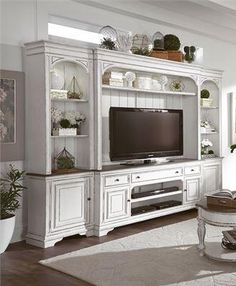 Magnolia Manor 4 Piece Entertainment Wall Unit by Liberty Furniture at Great American Home Store - - Magnolia Manor 4 Piece Entertainment Wall Unit by Liberty Furniture at Great American Home Store Interiors 4 Pc Entertainment Wall Unit Home Entertainment, Entertainment Center Furniture, Pallet Entertainment Centers, Entertainment Products, Liberty Furniture, Home Furniture, Repurposed Furniture, Furniture Stores, My Living Room
