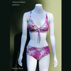 Altona bikini  Features fuller coverage in the swim suit briefs.  Cross over back style, easy to fit.  Fully lined + removable cups linings. A beautiful piece to sew!
