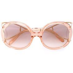 Chloé 'Jackson' sunglasses (1.415 BRL) ❤ liked on Polyvore featuring accessories, eyewear, sunglasses, logo sunglasses, round frame glasses, round frame sunglasses, round sunglasses and chloe eyewear