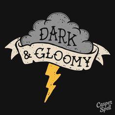 Dark Macabre Spooky Gloomy Cute Halloween Retro Vintage Art Prints Apparel Thunderstorm Thunder Lightning Casper Spell (www.casperspell.com)
