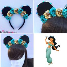Check out our princess jasmine selection for the very best in unique or custom, handmade pieces from our costumes shops. Mickey Mouse Ears Headband, Disney Mickey Ears, Disney Bows, Disney Outfits, Mickey Ears Diy, Disney Headbands, Ear Headbands, Micky Ears, Disneyland Ears